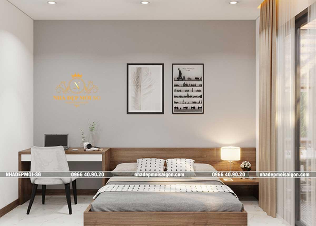 Phòng ngủ được thiết kế đơn giản, hài hòa, với tông trung tính tạo nên hiệu ứng thư giãn cho người ngủ.