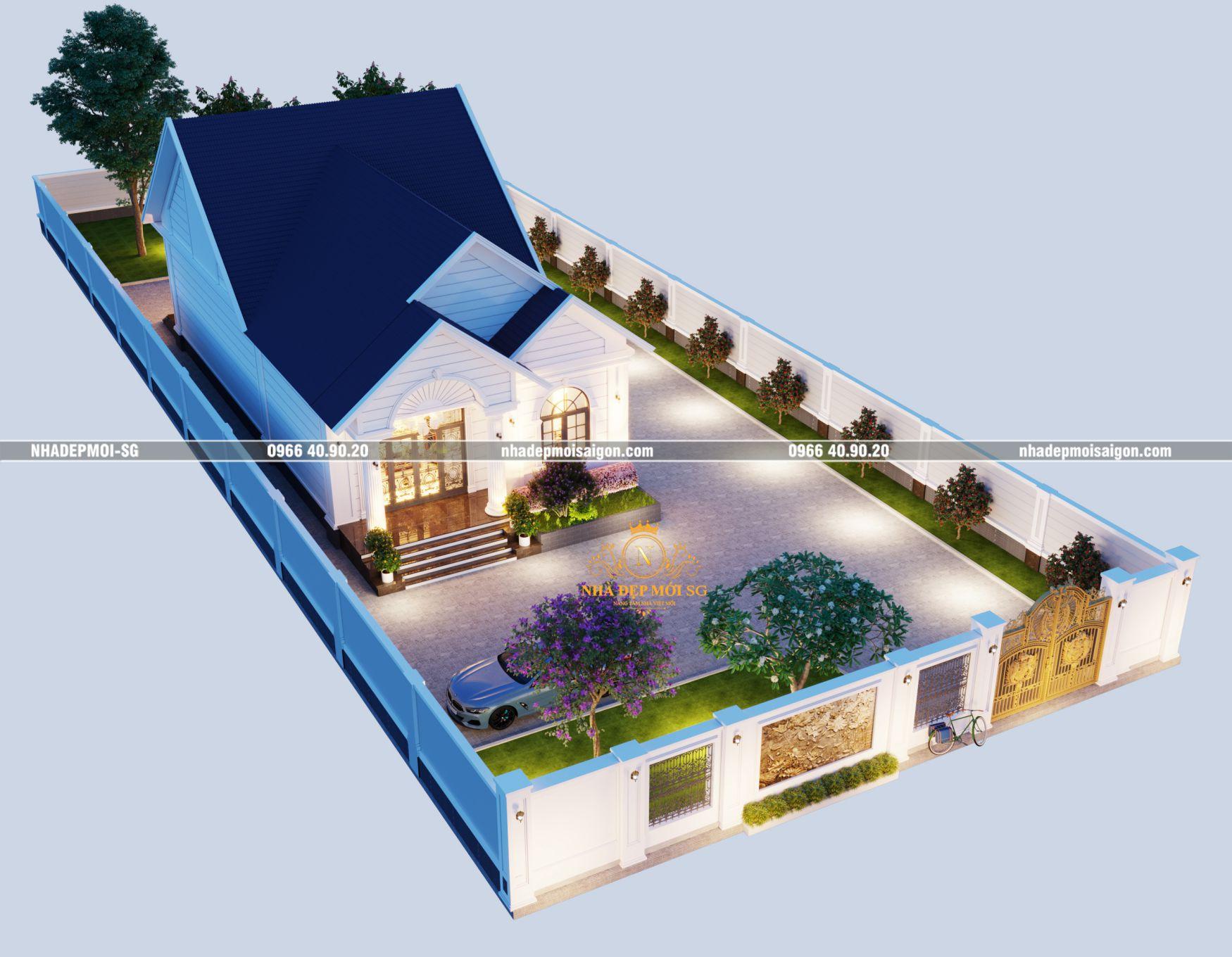 Góc bên Biệt Thự Mini 1 Tầng Mái Thái