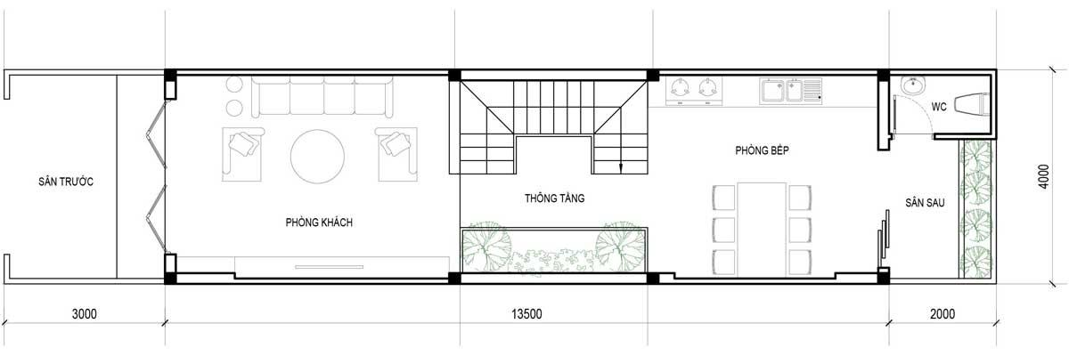 Mặt bằng tầng trệt nhà phố 3 tầng hiện đại 4x18.5m.