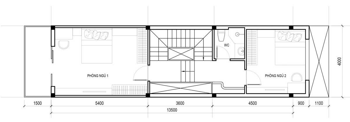 Mặt bằng tầng 2 mẫu nhà phố đẹp 3 tầng 4x18,5m