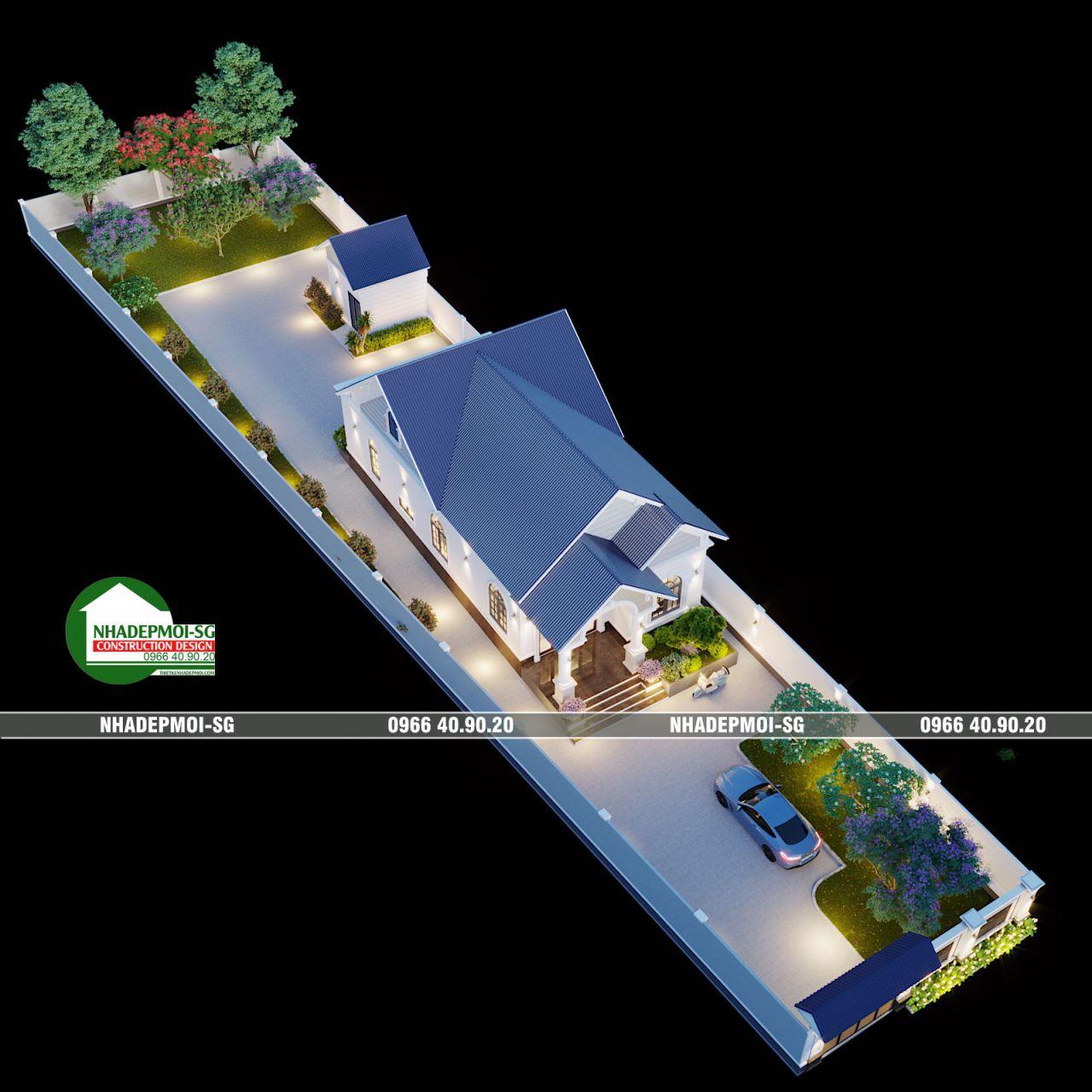 Mẫu Biệt Thự Sân Vườn Mái Dóc Một Tầng