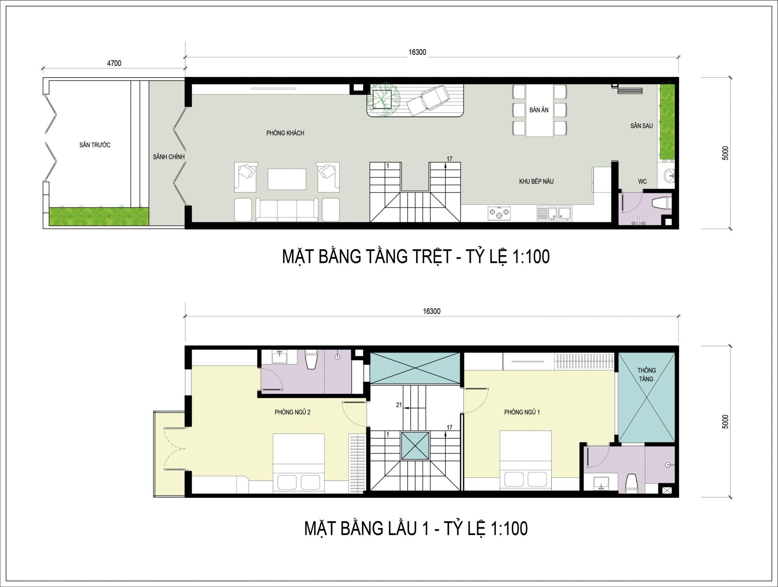 Nhà 3 tầng mái Thái hiện đại thiết kế kiểu nhà ống